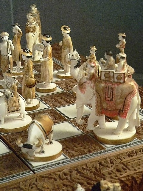 Sandalwood And Ivory Chess Set India 19th Century Ce A