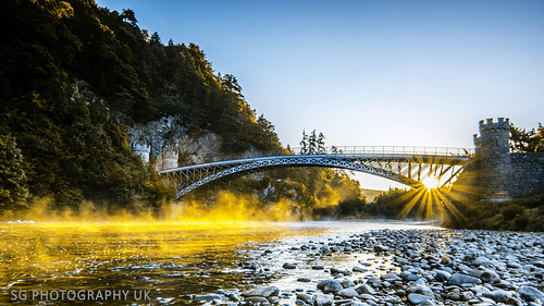 bridge blue trees sun mist water yellow sunrise canon river scotland landscapes rocks arch pebbles rays ios moray 70d