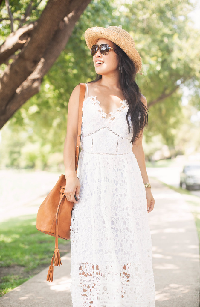 cute & little blog | petite fashion | white crochet lace maxi dress, tassel bucket bag, boaters hat | summer outfit