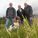 Justice Minister, David Ford pictured with (L-R) Davy Carlisle and Neil Powell and rescue dog Heidi from Search and Rescue Dogs Association at their base in Tollymore Forest Park.