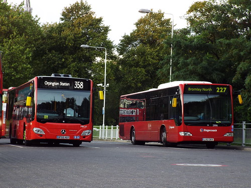 Go-Ahead London (Metrobus) MEC57 and Stagecoach Selkent 23106 at Crystal Palace
