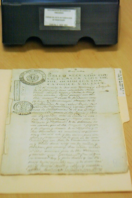 Copia del acta de fundación de Monterrey del año 1819.