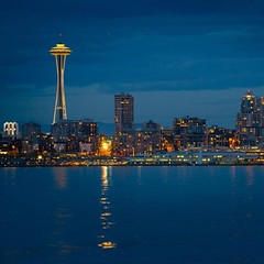 Seattle Space Needle shot from Alki Beach at dusk.  Long distance shot at 200mm on the #6D .  #spaceneedle #seattle #sunset