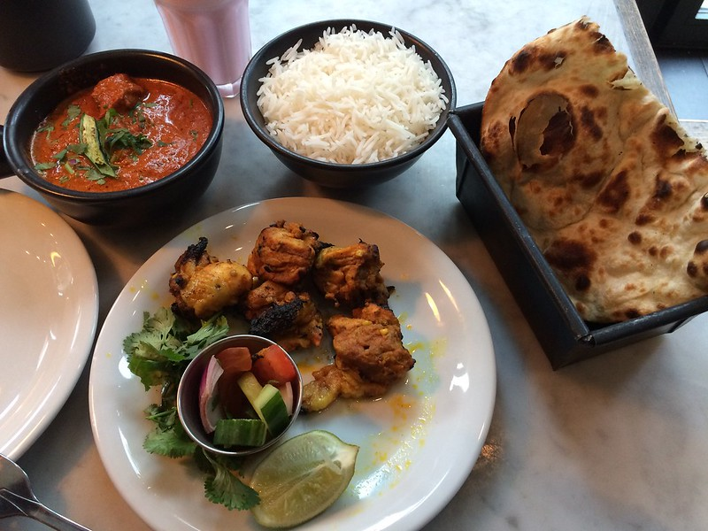 Chicken dish and naan at Dishoom in Covent Garden