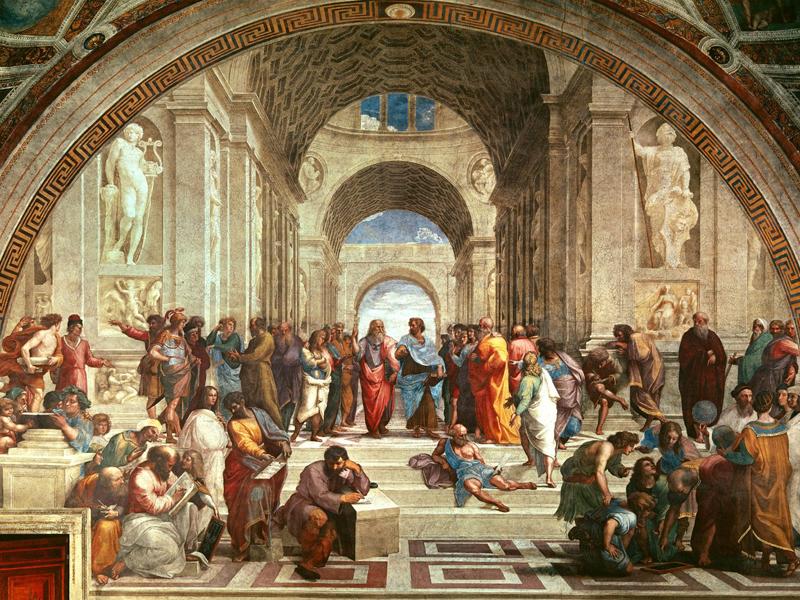 Cuadro al óleo de Rafael: La escuela de Atenas