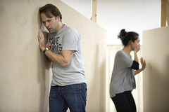 Nicholas Burns and Cassie Layton in rehearsal for Macbeth. Photo by Richard Hubert Smith