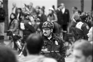 Police officer at WTO protest, 1999