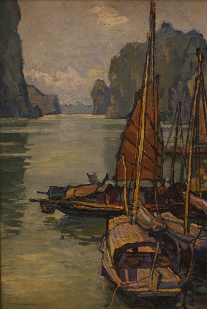 Embarcadère au pied du mont Bai Tho de Le Thanh Duc (1958)  au Musée des beaux arts d'Hanoi au Vietnam.