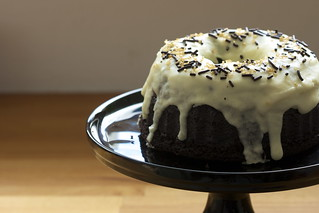 Black chocolate-espresso cake with single malt glaze