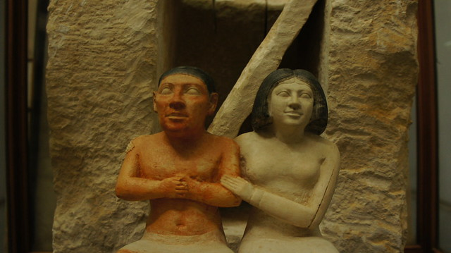 Ancient Egyptian Couple at the Egyptian museum of Cairo