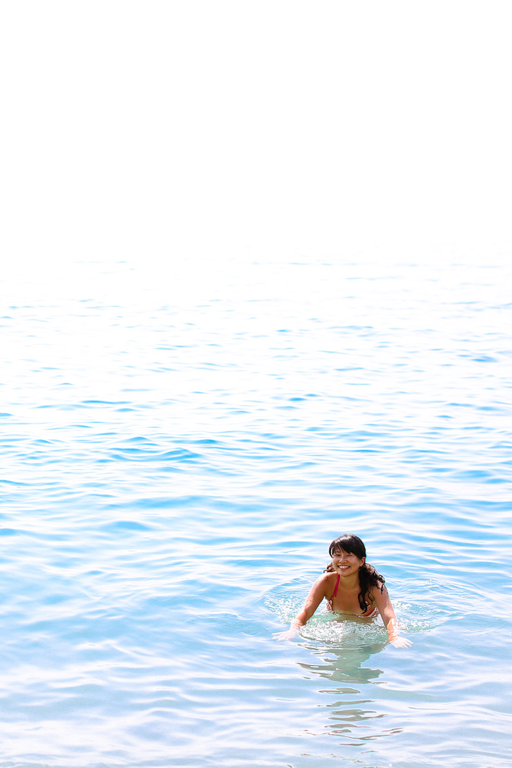 Swimming in the Sea of Liguria Italy.