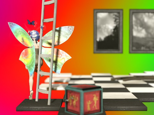 Image Description: On the left, a winged faerie leaning against a ladder, her wings reflecting rainbows. She's standing on a chessboard floor, paintings on the far end as if hanging on an invisible wall.