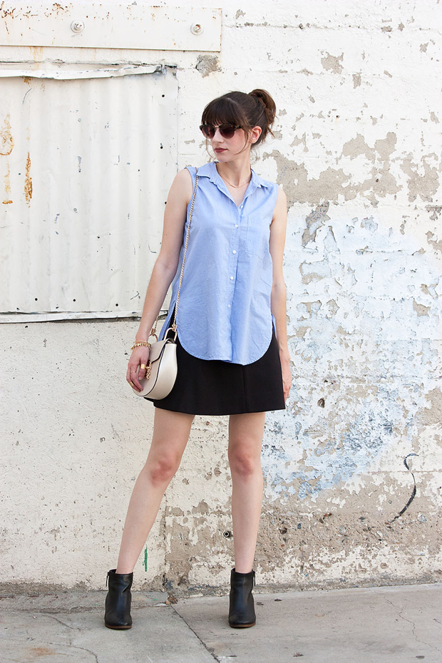 Flippy Skirt, Sleeveless Button Down