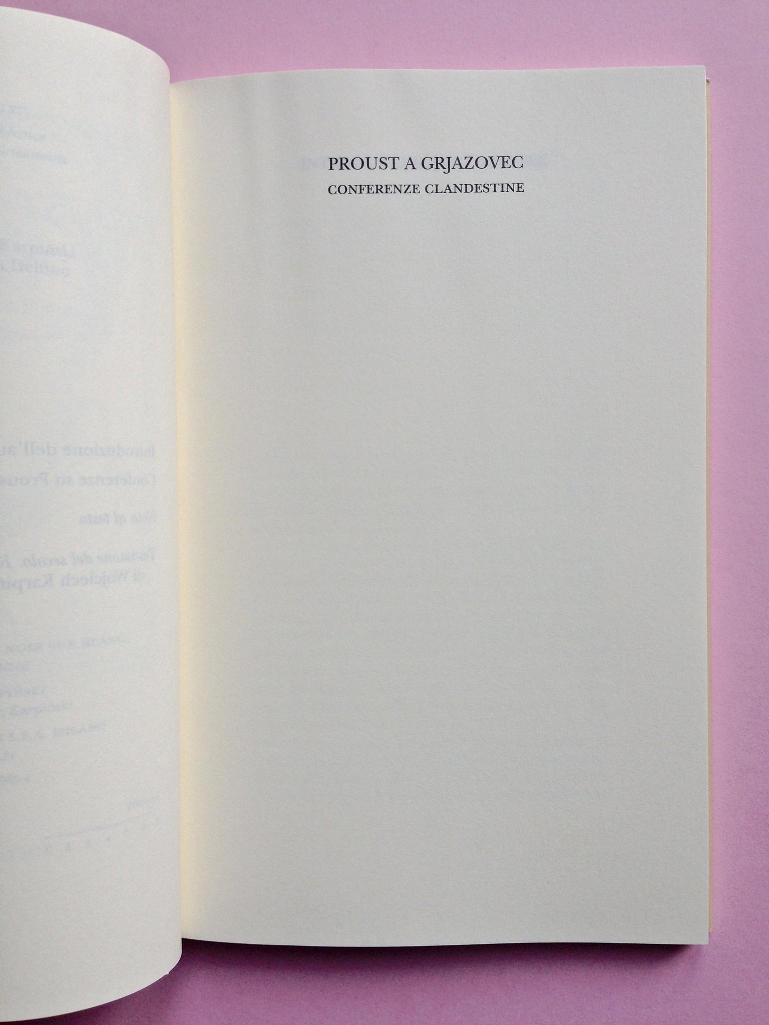 Proust a Grjazovec, di Józef Czapski. Adelphi 2015. Resp. grafica non indicata. Pagina del titolo, a pag. 9 (part.), 1
