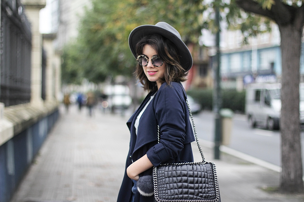 round sunglasses miu miu and navy trench look myblueberrynightsblog