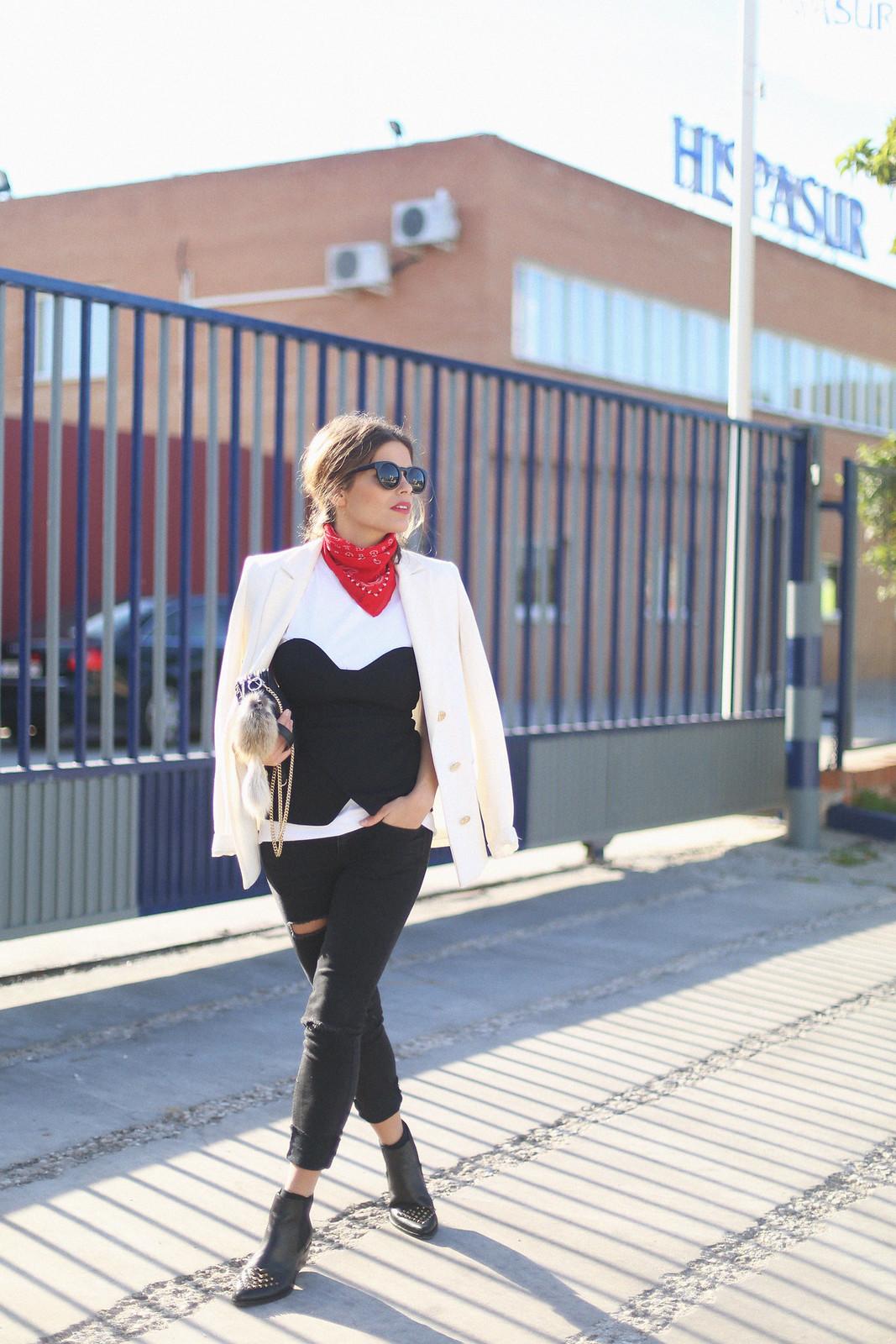 6. jessie chanes - white blazer gold studs booties