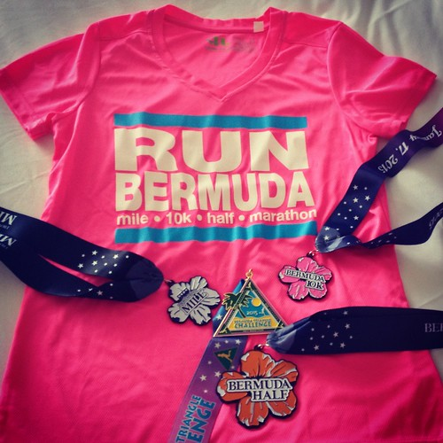 Mei's Bermuda Triangle Challenge medals and t-shirt.