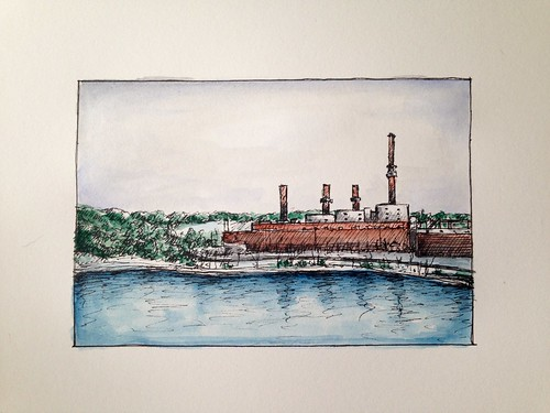 The power plant, last year, when I hiked Lake Springfield Park in six inches of snow.