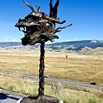 Sculptures of Dragon zodiac sign made by Chinese artist Ai Wei Wei, on exibition at the National Museum of Wildlife Art at the National Elk Refuge outside Jackson Hole, Wyoming, USA
