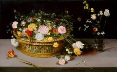 Jan Brueghel d. Ä., Korb mit Blumen und eine Vase (Basket with Flowers and a Vase)