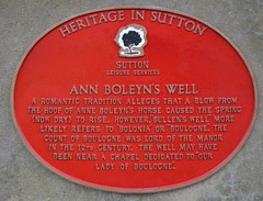 Photo of Ann Boleyn's Well red plaque