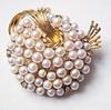 Vintage Lisner Brooch Goldtone with Faux Pearls Mid-Century Modern Modernist Design