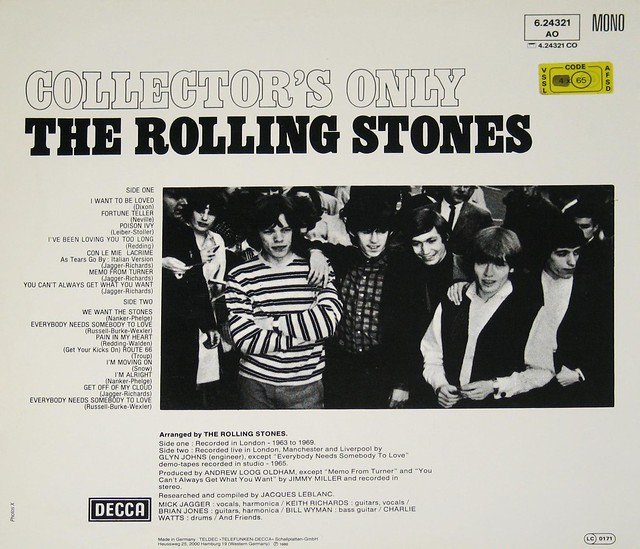 """ROLLING STONES COLLECTOR'S ONLY  CON LE MIE LACRIME sung in Italian 12"""" VInyl LP"""