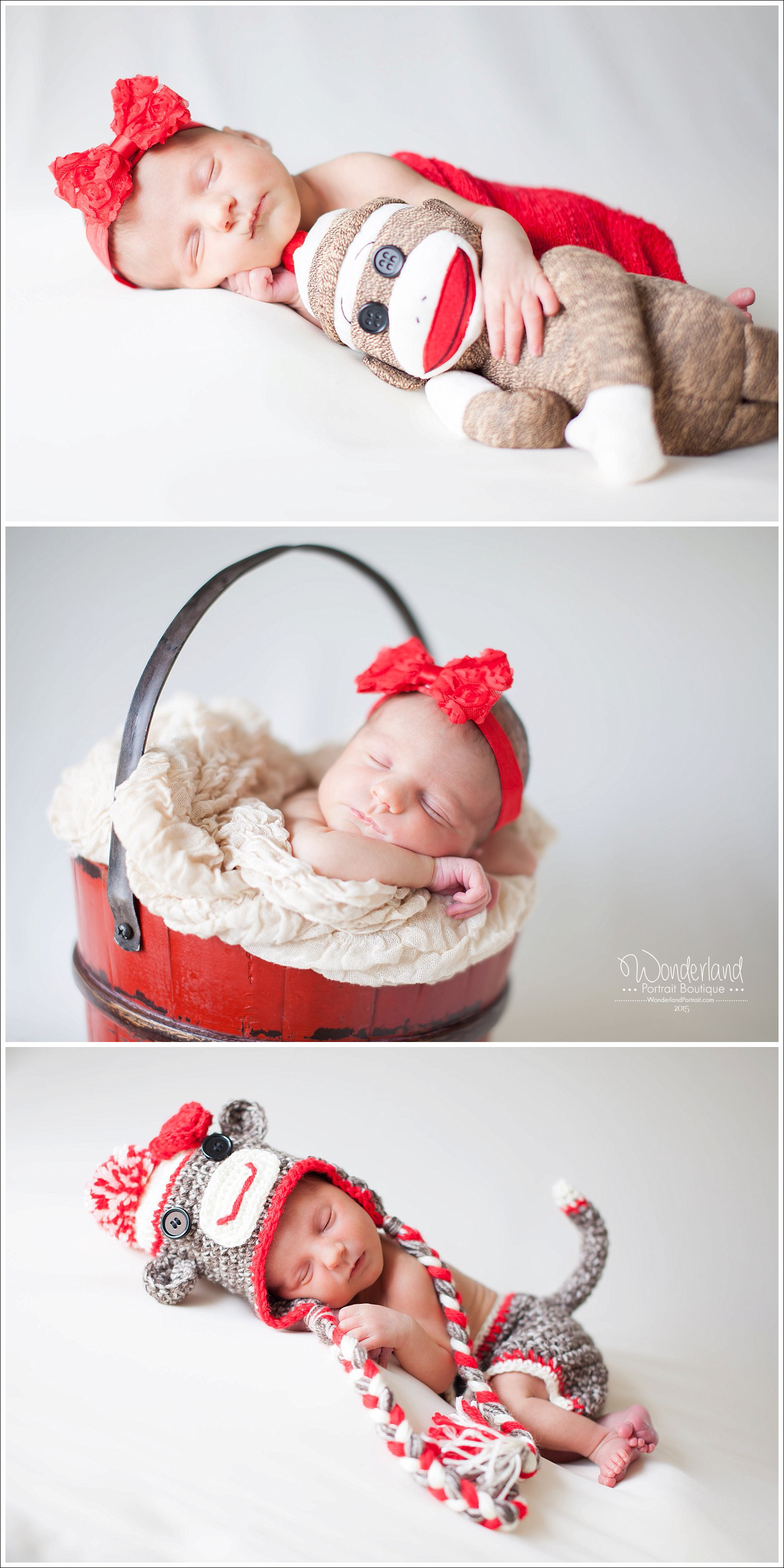 Richboro PA Newborn photographer Sock Monkey theme photo ideas | WonderlandPortrait.com