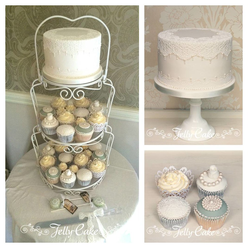 Pearl And Lace Wedding Cake And Cupcakes An Intimate Weddi Flickr