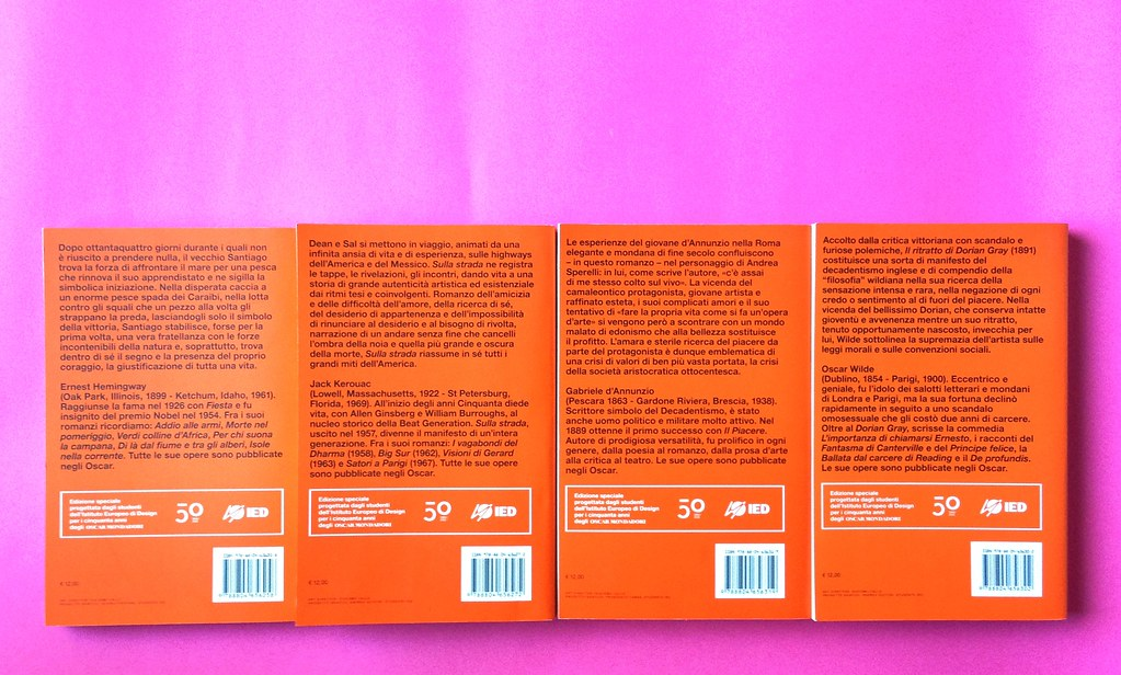 Oscar Mondadori / ied: edizione speciale di 10 titoli per i 50 anni degli Oscar. Art direction: Giacomo Callo. Quarta di copertina di 4 titoli (part.) 1