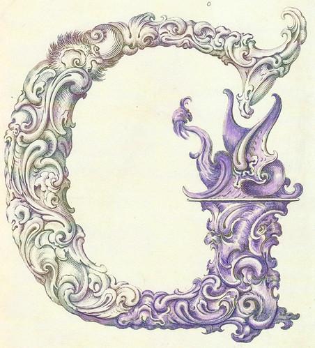 Colouring ornate letter G