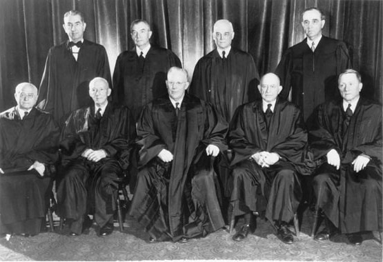 The members of the Supreme Court in 1953, who ruled Brown v. Board of Education