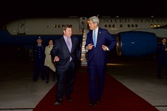 U.S. Secretary of State John Kerry  walks with U.S. Ambassador to Chile Mike Hammer after arriving in Santiago, Chile, on October 4, 2015, en route to the 2015 Our Ocean conference in Valparaiso, Chile. [State Department photo/ Public Domain]