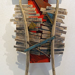 Bernice Strawn; Shambala Warrior I; Wood, paint; 2014; 43x41 - Art of the State 2016 at the Arvada Center for the Arts and Humanities