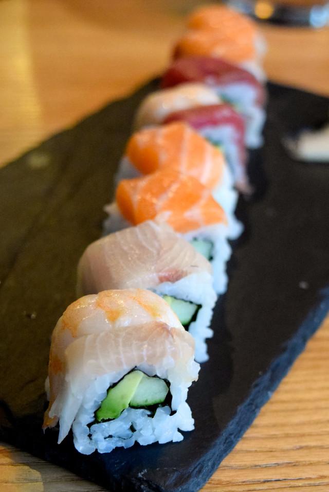 Rainbow Sushi Roll at Murakami, Covent Garden | www.rachelphipps.com @rachelphipps