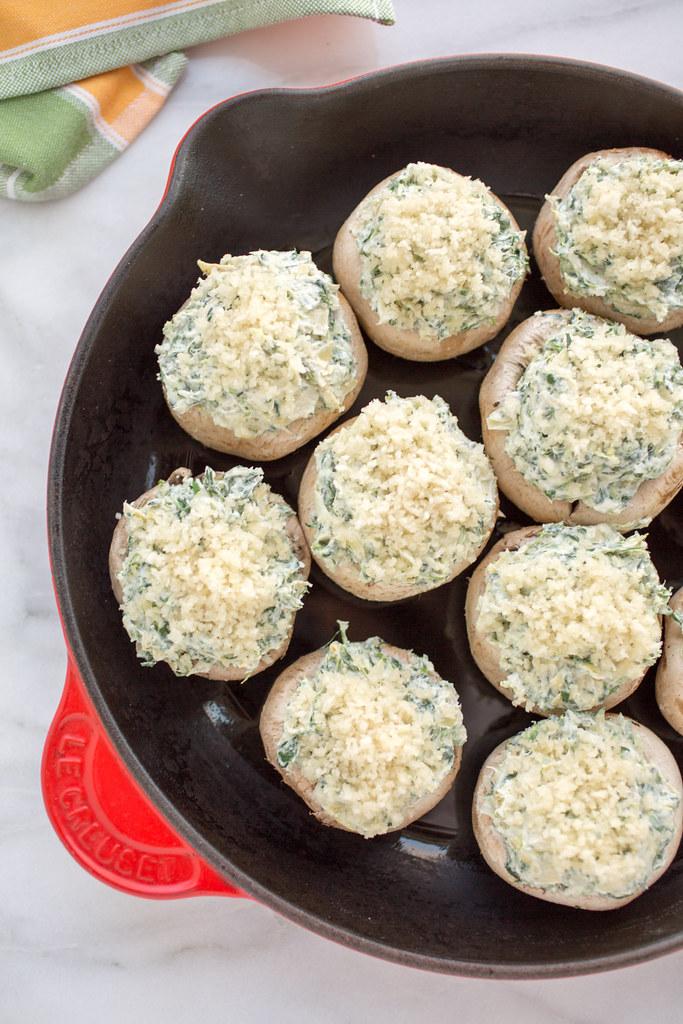Stuffed mushrooms in pan