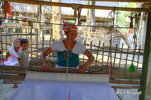 Sonowal Kachari Lady at handloom , Majuli Island
