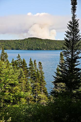 ocean sea canada water forest newfoundland fire smoke atlantic burn sound np prescribedburn wildfire parkscanada borealforest newmansound terranovanationalpark forestmanagement wyojones