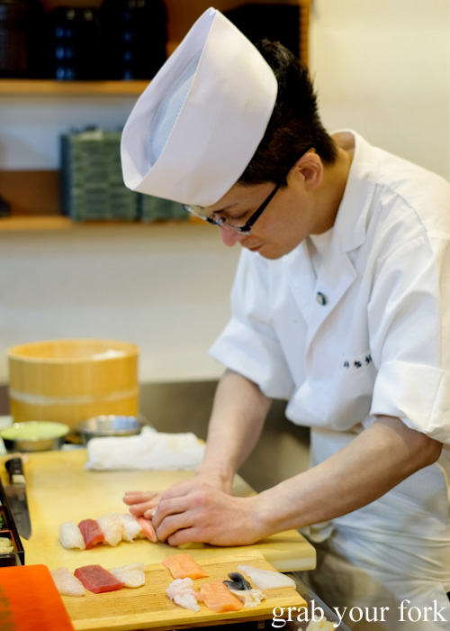 Sushi chef at Tarche Sushi Corner near Otaru JR station