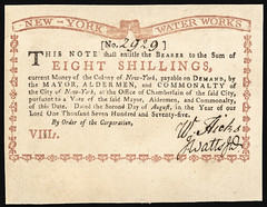 """1775. Eight Shillings. """"New-York Water Works"""" face"""