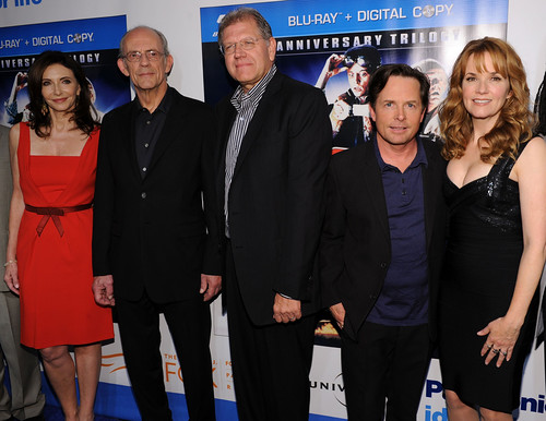 Back to the Future - Cast - Mary Steenburgen, Christopher Lloyd, Robert Zemeckis, Michael J. Fox and Lea Thompson - Anniversary Photo 1