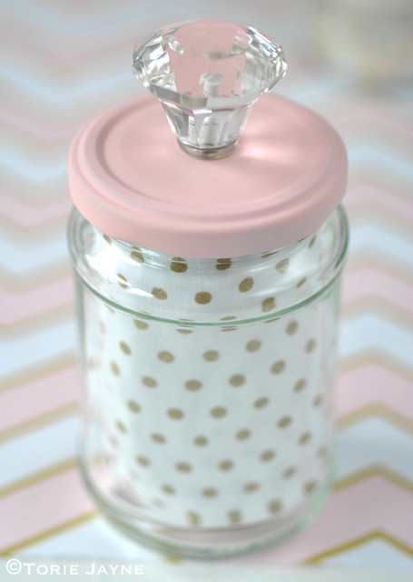 Upcycled jar with crystal knob