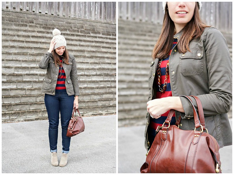 stripes and J.Crew field jacket