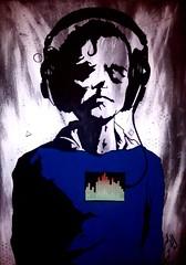 Music acrilico su MDF con schermo 100x70cm