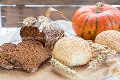 Freshly baked breads with ears and pumpkin