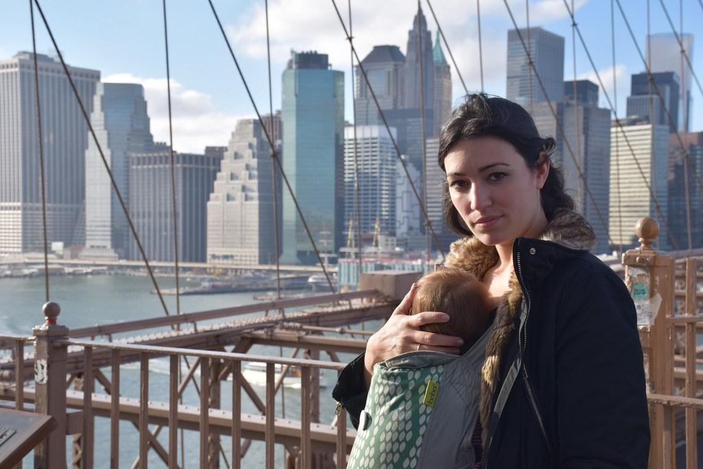 Con Eva en el puente de Brooklyn (Nueva York), embarazada de cuatro meses y medio.