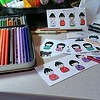 Coloring Kokeshi Dolls for cards.