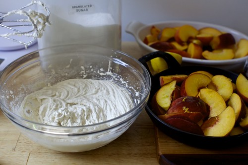 batter, prepped peaches