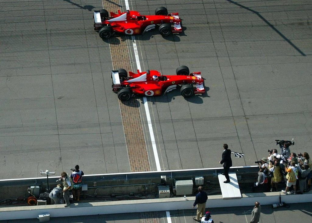 Image result for schumacher barrichello indianapolis