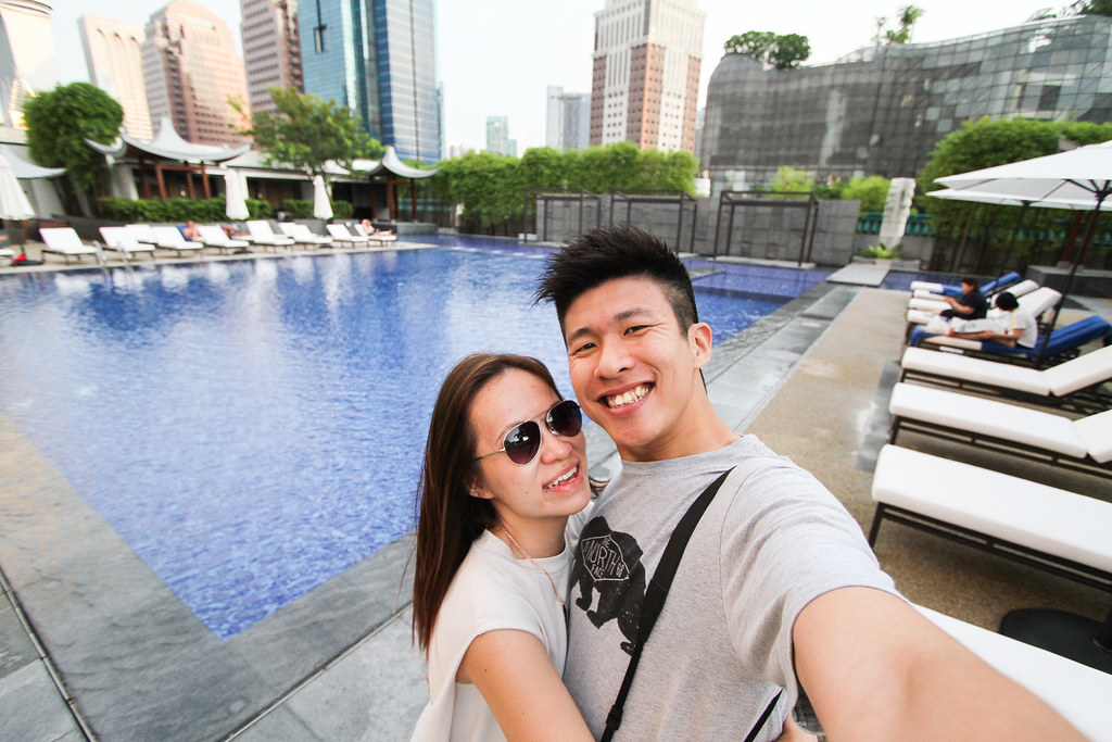 Maureen and fiancé at Singapore Marriott Tang Plaza Hotel Pool side